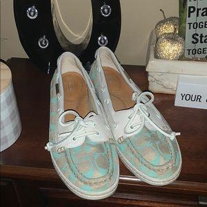 "COACH Richelle grey w light blue ""C"" boat shoe"